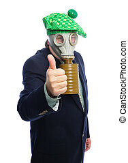 gas mask business man - Man wearing a suit and gas mask on a...