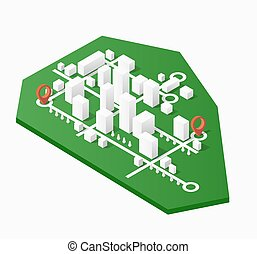 city center - City isometric map, consisting of city...