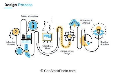 Design process - Flat line illustration of design process...