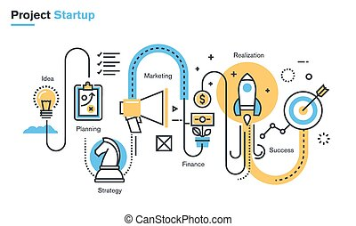 Business project startup process - Flat line illustration of...