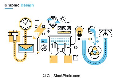 Graphic design process - Flat line illustration of graphic...