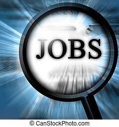jobs on a blue background with a magnifier