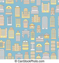 Megapolis seamless pattern Background of buildings city...