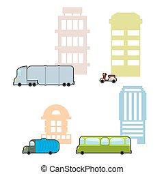 Set Municipal transport and public buildings Passenger bus...