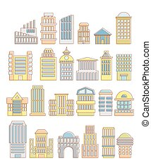 Collection of buildings, houses and architectural objects...