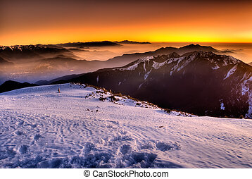 color mountain - Color nature scenic of snow mountain...