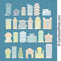 Winter buildings icons. Skyscrapers and towers in snowfall. Snow on rooftops and snowdrifts. Urban structure. City in snowstorm. Elements of city. Government and public buildings. Winter architecture