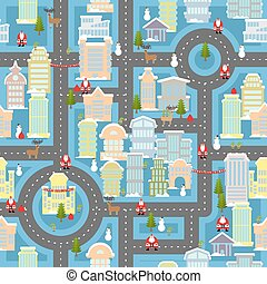 Winter town Santa Claus seamless pattern. Metropolis...
