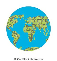 Urbanization earth. Roads have filled in all continents of  land. Highways around the world. Traffic jams in cities. Concept Illustration pollution of planet.