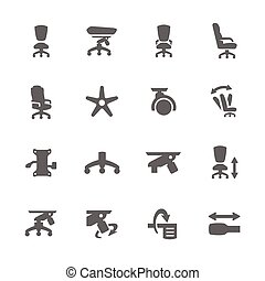 Office Chair - Simple set of Office Chair Related vector...