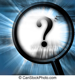question mark on a blue background with a magnifier