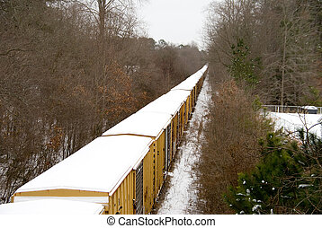 Snow Train - A train moving down the tracks during a snow...