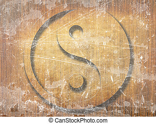 yin yang - wooden board with the yin yang sign on it