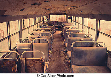 Old bus interior ( Filtered image processed vintage effect....