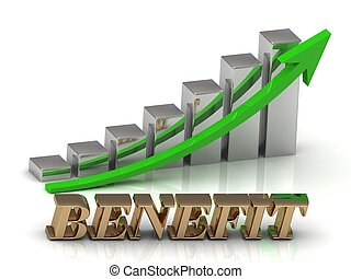BENEFIT- inscription of gold letters and Graphic growth