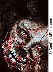 werewolf - Close-up portrait of a scary bloody zombie girl...