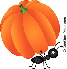 Ant carrying pumpkin - Scalable vectorial image representing...