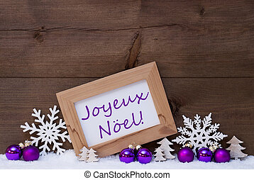 Purple Decoration, Snow, Joyeux Noel Mean Merry Christmas -...
