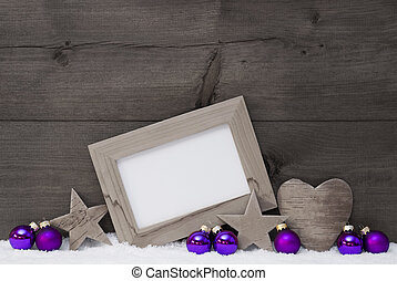 Gray Purple Christmas Decoration With Copy Space - Black and...
