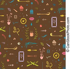Kitchen Food and Drinking Tea Cosy Seamless Pattern Colorful...