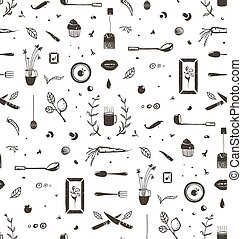 Kitchen Food and Drinking Tea Cosy Seamless Pattern Background