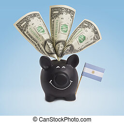 One dollar banknotes in a happy piggybank of Argentina.(series)