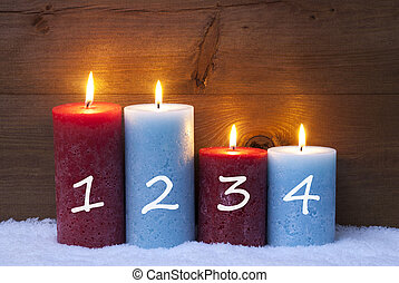 Christmas Card With Four Candles, Advent, 1, 2, 3, 4 -...
