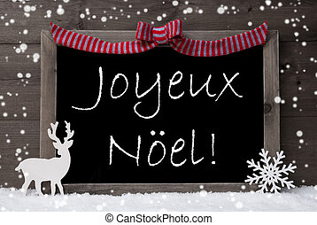Gray Card, Snow, Loop, Joyeux Noel Mean Merry Christmas -...