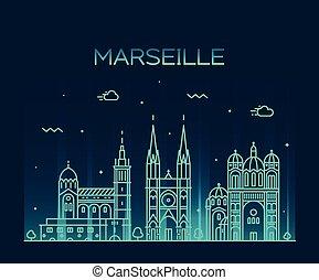 Marseille skyline silhouette linear style vector - Marseille...