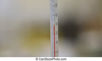 Thermometer - A thermometer showing temperature rising