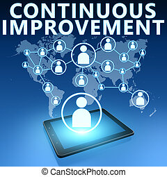 Continuous Improvement illustration with tablet computer on...