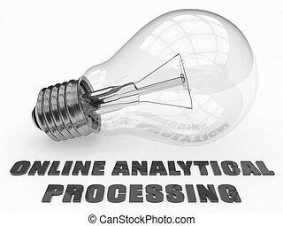 Online Analytical Processing - lightbulb on white background...