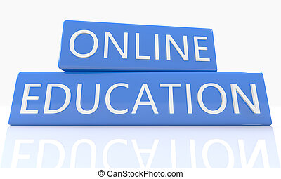 Online Education - 3d render blue box with text on it on...