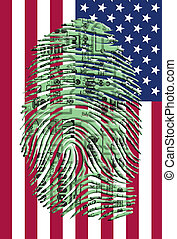 Circuitry finger print over US Flag