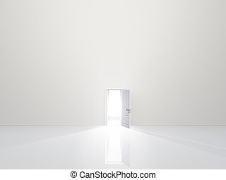 Single door in pure white space emaits light