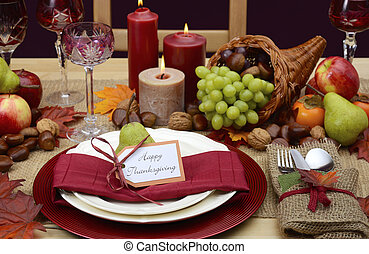Country style rustic Thanksgiving table setting - Country...