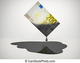 Oil Money - Oil Drips from 200 Euro Note