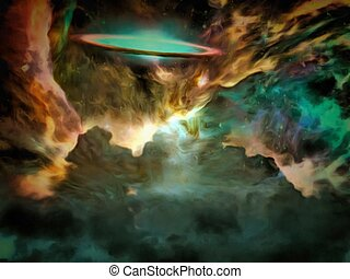 Galactic Scene filled with nebolous gasses
