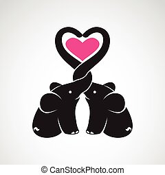 Vector image of elephant and heart on white background, The...