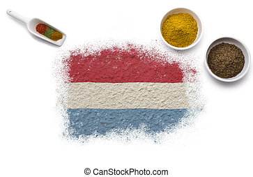 Spices forming the flag of Luxembourg.(series)