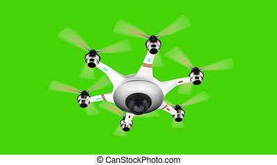 Drone flying on green screen - Drone with surveillance...