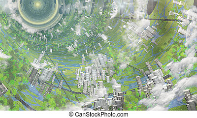 Oneil Cylinder Interior - Inter Galactic Space Colony Ship...