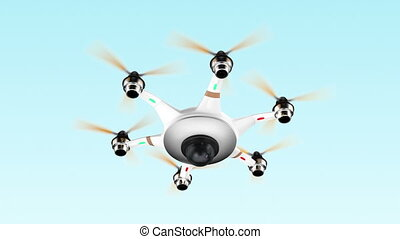 Drone flying in the sky - Drone with surveillance camera...