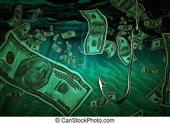 Fish hook in currency filled water