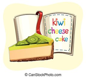 Kiwi cheesecake and a book illustration