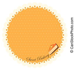 Border design with orange cheesecake illustration