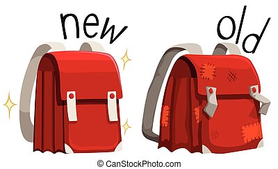 Schoolbag new and old illustration