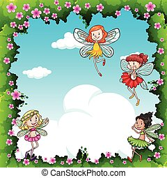 Many fairies flying in the sky illustration