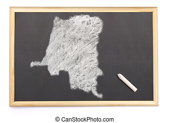 Blackboard with a chalk and the shape of Zaire drawn onto....