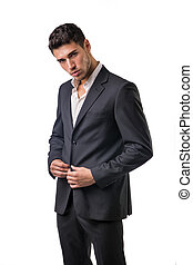 Young businessman confidently posing isolated on white -...